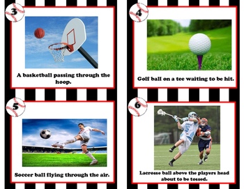 Potential or Kinetic Task Cards Sports themed scenarios- review, assess, center