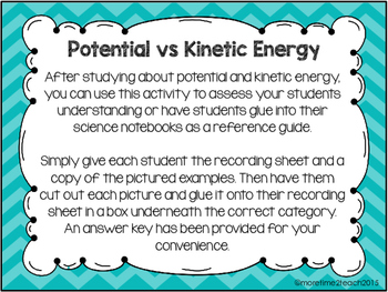 Potential vs  Kinetic Energy {Free cut & paste activity}