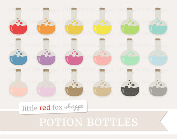 Potion Bottle Clipart; Halloween, Witch, Tonic