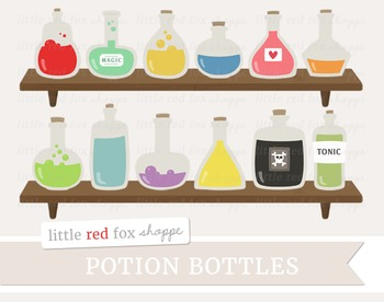 Potion Bottle Clipart; Halloween, Witch, Poison