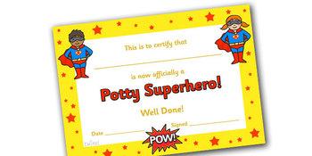 Potty Superhero Certificate