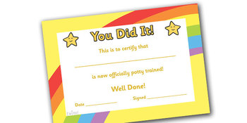 Potty Training Certificate