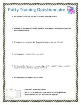 Potty training questionnaire for parents