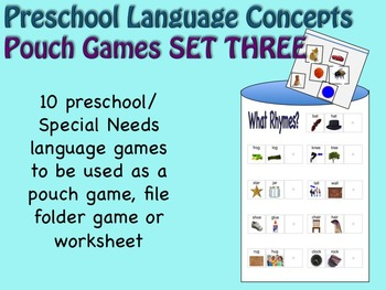 Preschool Language Games SET THREE for Pre-K and Special Education