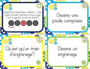 Poulies et engrenages, cartes à tâche (Task Cards in French, Pulleys and Gears)