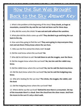 Pourquoi Folktale Lesson / How the Sun Was Brought Back to the Sky