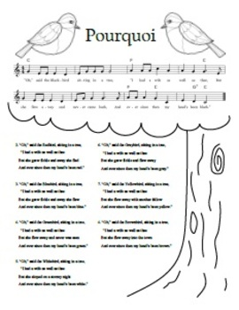 """Pourquoi"" Printable Song Sheet"