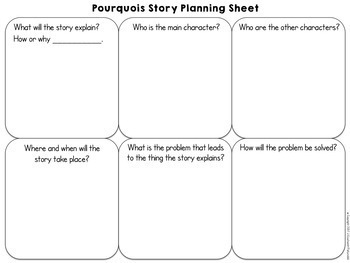 Pourquoi Tales Reading and Writing Worksheets