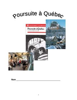 """""""Poursuite a Quebec"""" Vocab and Questions by Chapter + Quiz"""