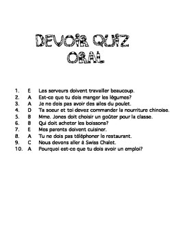 Pouvoir and Devoir quizzes/activities