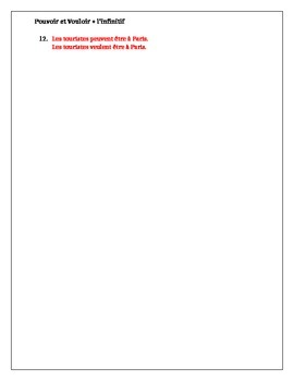 Pouvoir et vouloir + infinitif French verbs worksheet