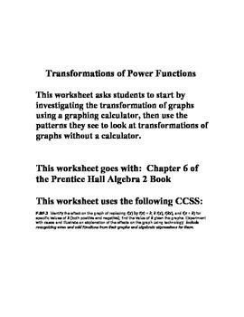 Power Functions Investigation - Chapter 6 - Prentice Hall Algebra 2