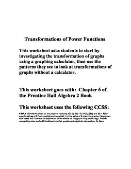 Power Functions Investigation - Chapter 6 - Prentice Hall
