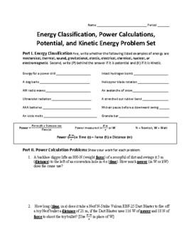 kinetic energy problem set worksheet with answers kidz activities. Black Bedroom Furniture Sets. Home Design Ideas