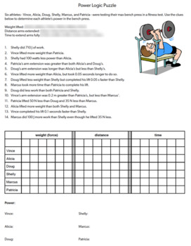 Power Logic Puzzle, Critical Thinking, Power, Work, Force, Distance & Time