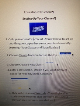 Power My Learning Educator Instructions for Setting Up Your Class
