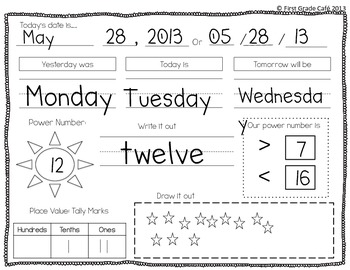 Power Number Daily Calendar & Number Practice