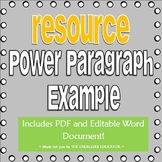 Power Paragraph Example Resource