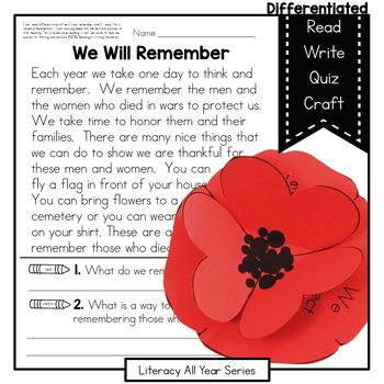 Power Passages {We Remember} Comprehension, Fluency, Close