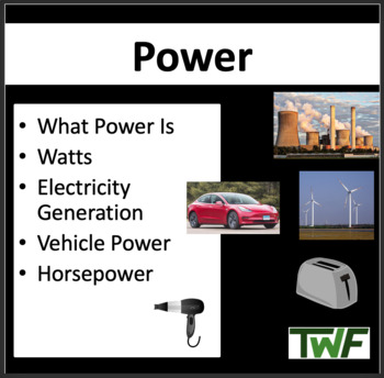 Power - Physics Lesson and Student Activity Package