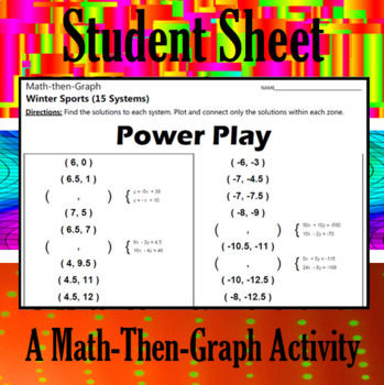 Power Play - A Math-Then-Graph Activity - Solve 15 Systems