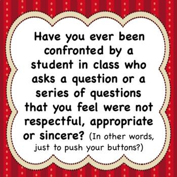 Power Play Questions ⇒ Classroom Management Discipline Worksheet