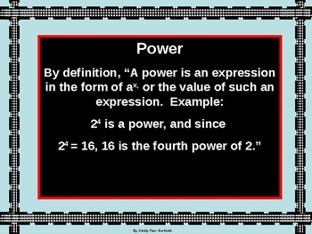 Power Point:  Division Properties of Exponents with GUIDED NOTES