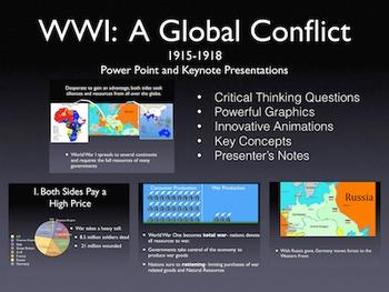 "World War 1 ""A Global Conflict"" 1915-1918 PowerPoint / Keynote Presentation"