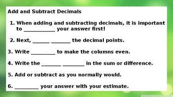 Power Point Lesson for Adding and Subtracting Decimals