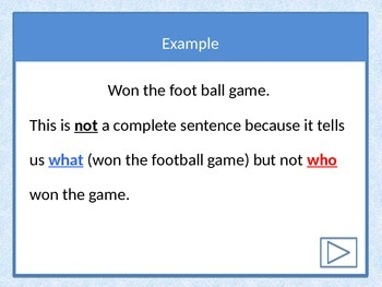Power Point Lesson on Complete and Incomplete Sentences