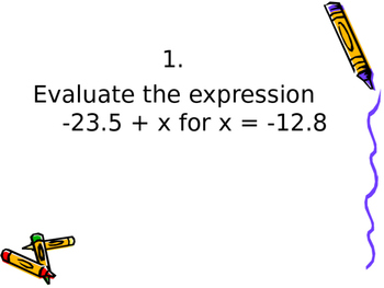 Power Point Math Questions