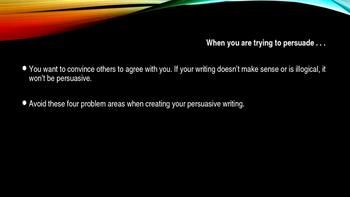 Power Point - Persuasive Writing Pitfalls