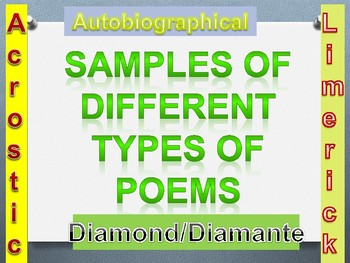 Power Point Presentation-Acrostic, Biographical, Diamond/Diamante, and Limerick