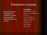 Power Point Presentation: Shakespearean Language