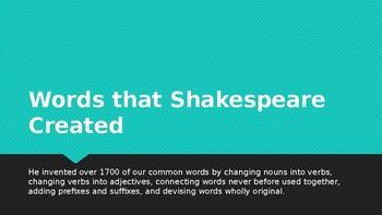 Power Point Presentation - Words Shakespeare Created