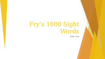 Power Point Presentation of Fry's 500 words