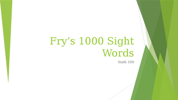 Power Point Presentation of Fry's 600 words