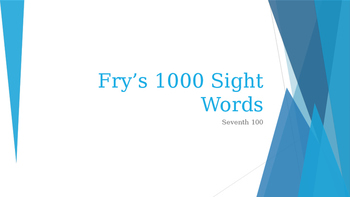 Power Point Presentation of Fry's 700 words