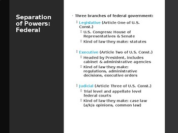Power Point Presentation on Introduction to the U.S. Legal System