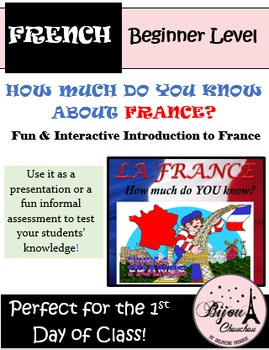 HOW MUCH DO YOU KNOW ABOUT FRANCE? Perfect 1st Day of Clas