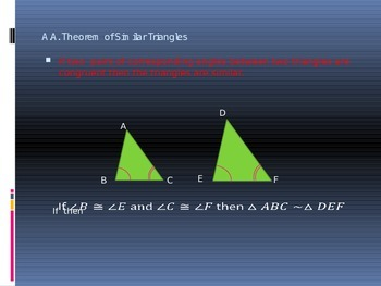 Power Point Slide Lecture  for Proving Similar Triangles