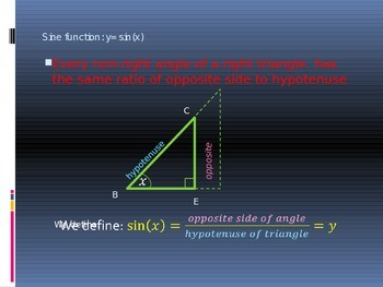 Power Point Slide Lecture for Sine Cosine and Tangent