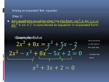 Power Point Slide Lecture for Solving Quadratic Equations