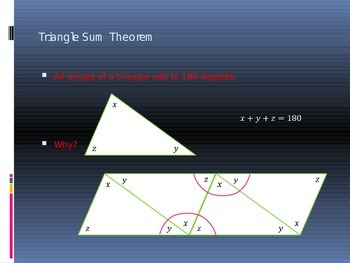 Power Point Slide Lecture  for Triangle Sum Theorem and Isosceles Triangles