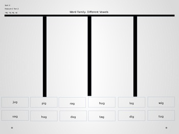 Power Point Slides for Word Families with Different Vowels