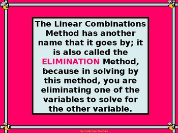 Power Point: Systems of Equations Using Linear Combinations with GUIDED NOTES