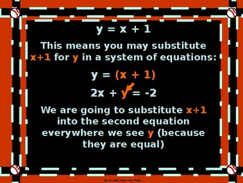 Algebra Power Point Systems of Equations Using Substitution with GUIDED NOTES