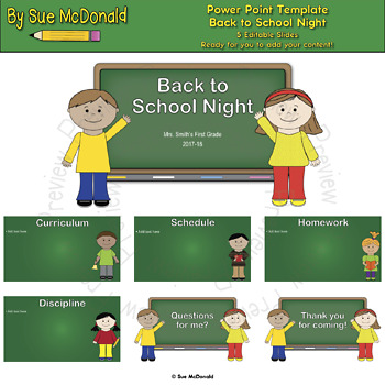 Power Point Template - Back to School Night - Editable
