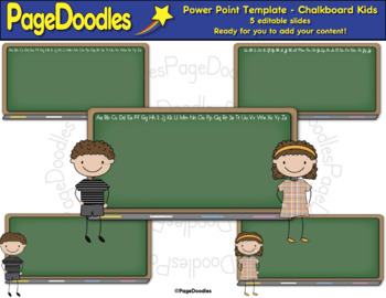 Power Point Template for TPT Sellers, Chalkboard Kids-High Quality Graphics