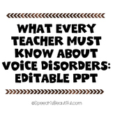 {Freebie} What every teacher must know about the voice & voice disorders! #BSHM